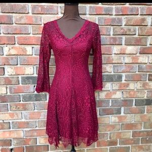 Ryan Michelle red lace overlay dress